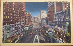 Times-Square-at-Night-1940s-Linen-New-York-City-Postcard-NY