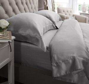 Jasmine-Silk-3st-100-Charmeuse-Seide-Bettbezug-Set-Grau-King