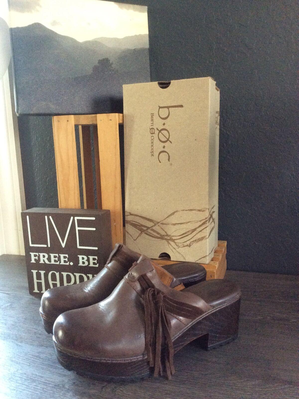 BOC Women's Brown Soft Leather Tasseled Fringe Platform Clogs 8M PreOwned EUC