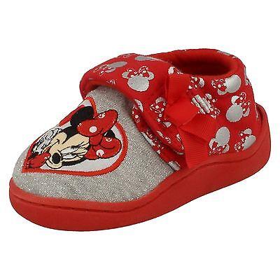 Chicas Disney Minnie Mouse Zapatillas Rojo Uk Tamaños 7-12 Strand