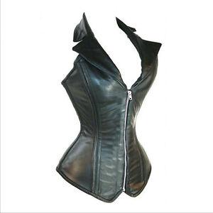 Burlesque-Costume-Corset-Basque-Cincher-Lingerie-Bustier-Faux-Leather-Collar-Hot