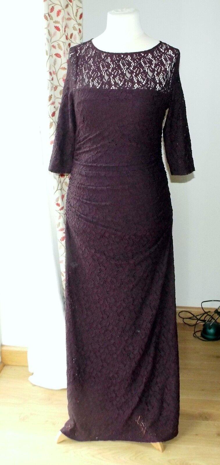 BNWT Phase Eight Angelina aubergine lace dress Größe 14