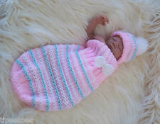 Aran Knitting Pattern47 TO KNIT Cocoon & Hat Set Baby Boys Girls or Reborn Dolls