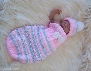 Aran-Knitting-Pattern47-TO-KNIT-Cocoon-amp-Hat-Set-Baby-Boys-Girls-or-Reborn-Dolls