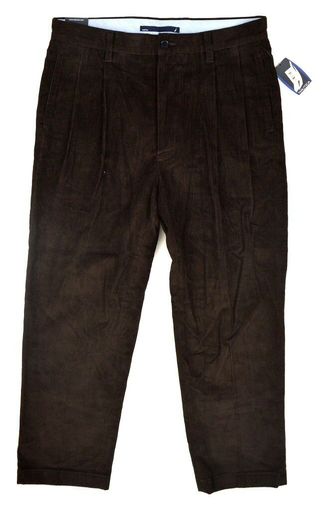 NWT NAUTICA Men's Midnight Coffee Brown Pleated Cotton Corduroy Pants  34x30