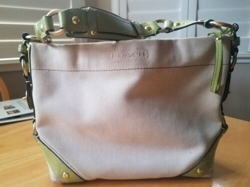 Coach Canvas 10448 Bag Purse with Lime Green Leath