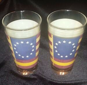 Libbey-American-Flag-Tumblers-13-Stars-Betsy-Ross-Red-White-Blue-Patriotic-Glass