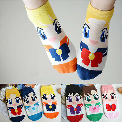 Cute Cotton Socks Cartoon Sailor Moon Spring Autumn Fashion Woman Girl Boat Sock