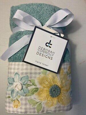 NWT Deborah Connolly Embroidered Flowers 2Pc Aqua Hand Towel Set Guest Bathroom