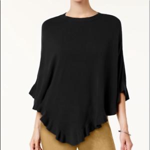 RRP-49-50-Karen-Scott-Luxsoft-Ruffled-Poncho-Sweater-Black-Size-S-M