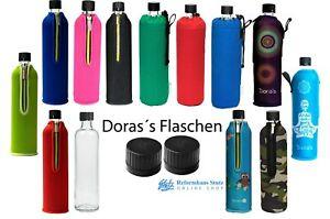 Dora´s Glasflasche mit Neopren oder Stoffbezug 500-700ml von Doraplast wie Emil-