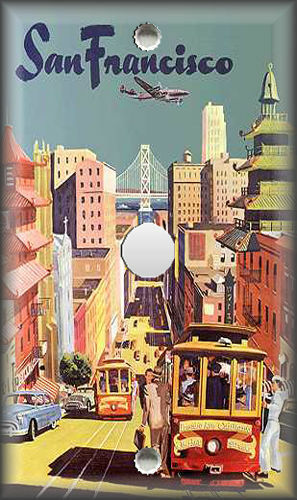Metal Light Switch Plate Cover Vintage Travel Poster Decor San Francisco Decor
