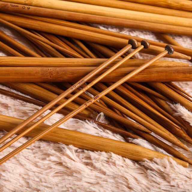 36Pcs 18 Sizes Carbonized Bamboo Knitting Needles Single Pointed Smooth Crochet
