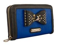 New Anna Smith Womens Ladies Designer Studded Blue Purse Clutch Wallet P102
