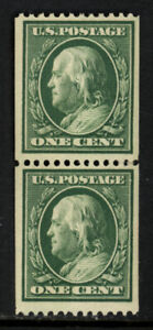 SCOTT 348 1908 1 CENT FRANKLIN REGULAR ISSUE COIL PAIR MNH OG VF CAT $225!