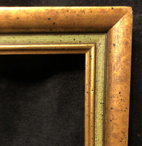 Vintage Gilded Wood Picture Art Frame Glass Cover 18.25x14.25 Patina Green