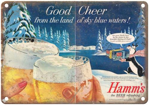 "Hamm/'s Beer Ad Good Cheer Vintage Look Reproduction 10/"" x 7/"" Metal Sign"