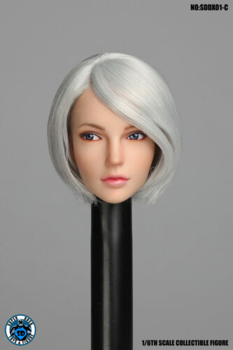 "1//6 Super Duck SDDX01C Female Short Hair Head Sculpt For 12/"" Figure Body"
