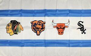 Chicago-Bears-White-Sox-Bulls-Blackhawks-Flag-3x5-ft-Banner-Man-Cave-NBA-NFL-MLB