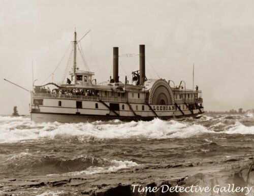 Side Wheel Riverboat Algerian, St. Lawrence Rvr Canada1900Historic Photo Print