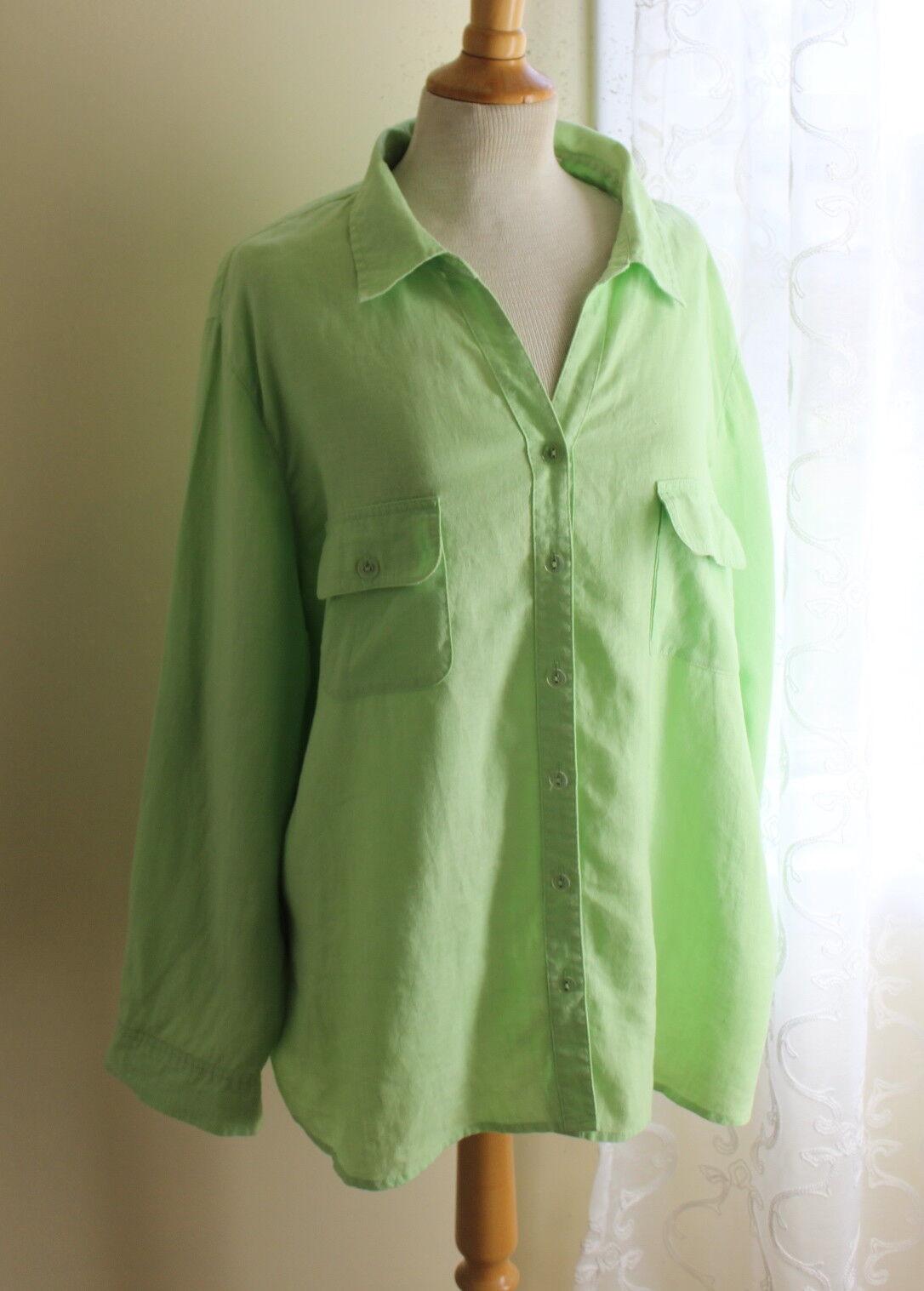Studio Works Sz 2X Elegant Key-Lime Artsy Linen V-Neck Easy Shirt Top -Breezy