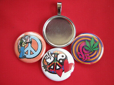 """Bob Marley Handmade changeable Magnetic 15//16 inch Pendant w//Black 18/"""" Necklace"""