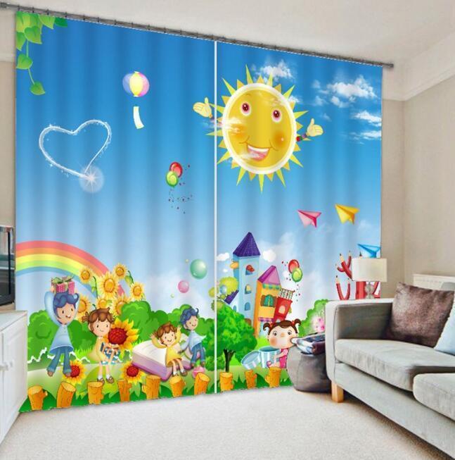 Cortina De Foto 3D feliz Paraíso Blockout Impresión Cortinas Cortinas Ventana De Tela