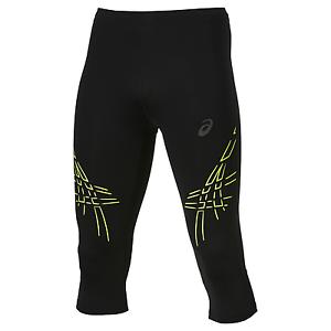 121334-0392 Asics Men Stripe Knee Tight Black-Yellow Herren-Laufhose