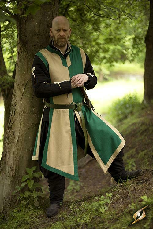Basic Sleeveless Tabard in Green/Beige for Costume, Stage, Re-enactment & LARP