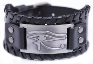 Ancient Egyptian The Eye Of Horus Ra Thoth Udjat Wide Leather Bracelets For Men Vous Garder En Forme Tout Le Temps