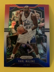 KARL-MALONE-2019-20-Panini-Prizm-Red-White-Blue-Parallel-Utah-Jazz-HOF