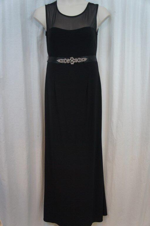 Betsy & Adam Dress Sz 12 schwarz Belted Beaded Jersey Long Formal Evening Gown