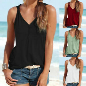 Womens-V-Neck-Summer-Strappy-Vest-Top-Sleeveless-Shirt-Blouse-Loose-Tank-Tops-US