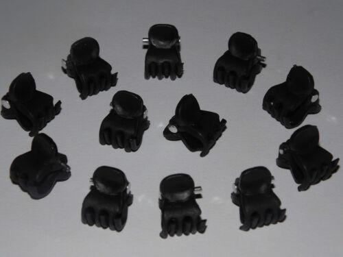 BLACK and CLEAR MINI HAIR CLAW CLAMPS~HAIR CLIPS~BULLDOG CLIPS X 6