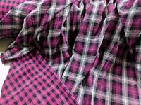 Gauze Yarn Dyed 2 Ply Reversible Plaid Dk Pink 100% Cotton 56 Wide Fabric Bty
