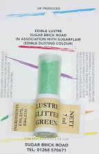 Sugarflair Glitter Green Lustre Dust Powder 7ml Edible Sparkly Food Colour Tint