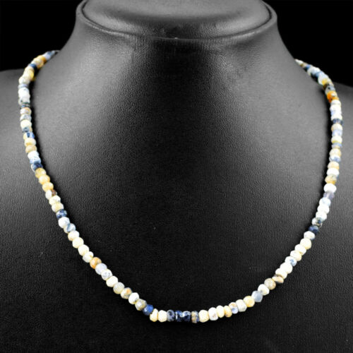 60.00 Cts Natural Dendrite Opal Round Shape Faceted Beads Necklace NK 31E81