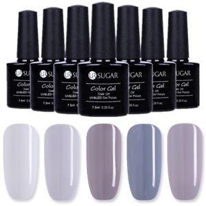 5-Flasche-UR-SUGAR-7-5ml-Grau-Serie-Soak-Off-UV-Gellack-Nail-Art-Gel-Nagellack