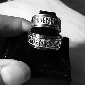 Harley davidson jewelry stamper white gold wedding set for Harley davidson jewelry ebay