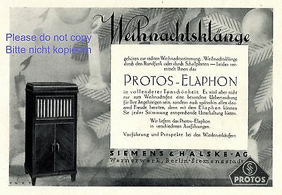 Merchandise & Memorabilia Collectibles Radio & Record Player Protos Elaphon Germany German Ad 1929 Siemens Halske Xc Good Heat Preservation