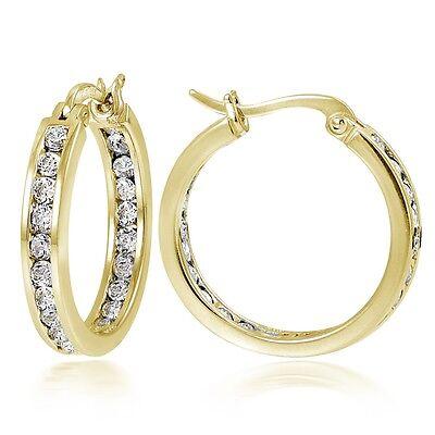 20mm Channel Set CZ Hoop Earrings in Gold Plated Silver
