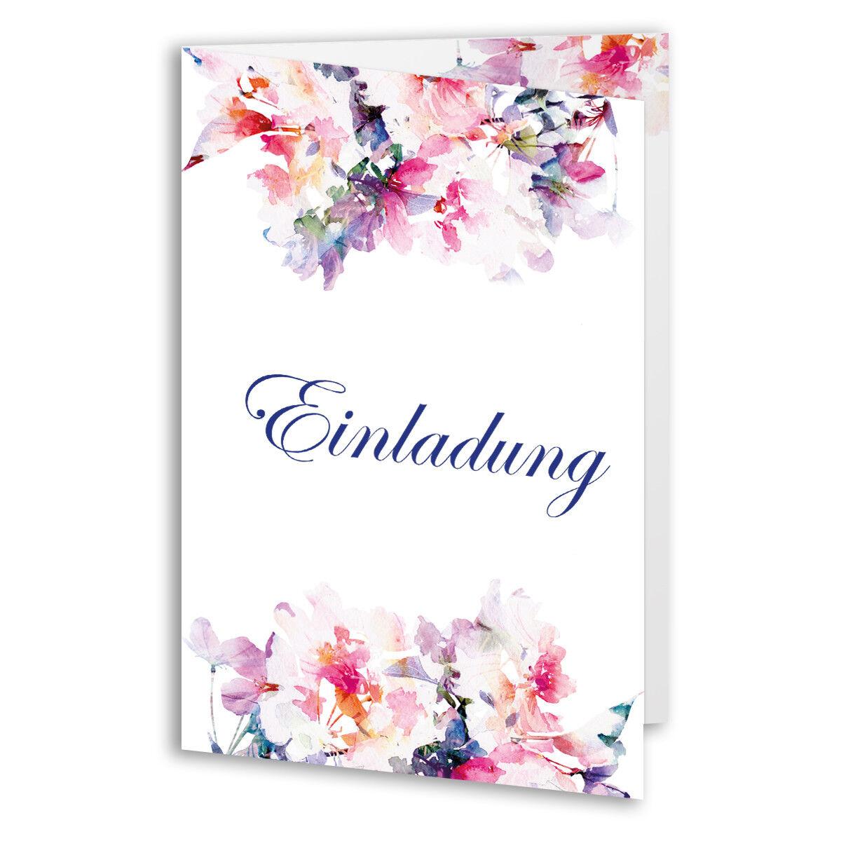 Einladungen zum Geburtstag Rosan Blaumen Klappkarten Einladungskarten | Produktqualität  | Sale Online