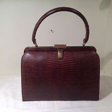 Vintage BELLESTONE 2pc Lizard Skin Brown Brass Satchel Handbag & Coin Purse