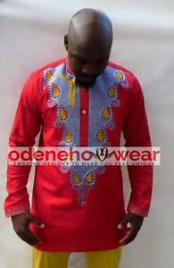 Odeneho Wear Men/'s White Polished Cotton//Red Embroidery /& Pant.African Clothing.