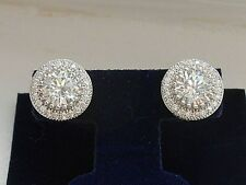 Simulated Diamond 4.00 cttw Sterling Silver Halo stud earrings