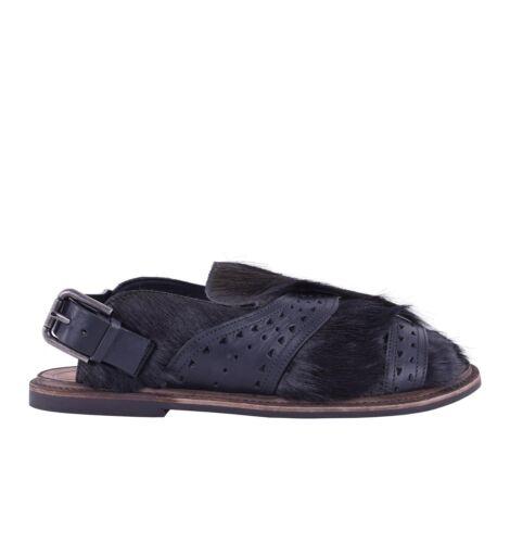 DOLCE /& GABBANA Pelz Sandalen Schuhe VESUVIO Schwarz Khaki Fur Sandals 05225