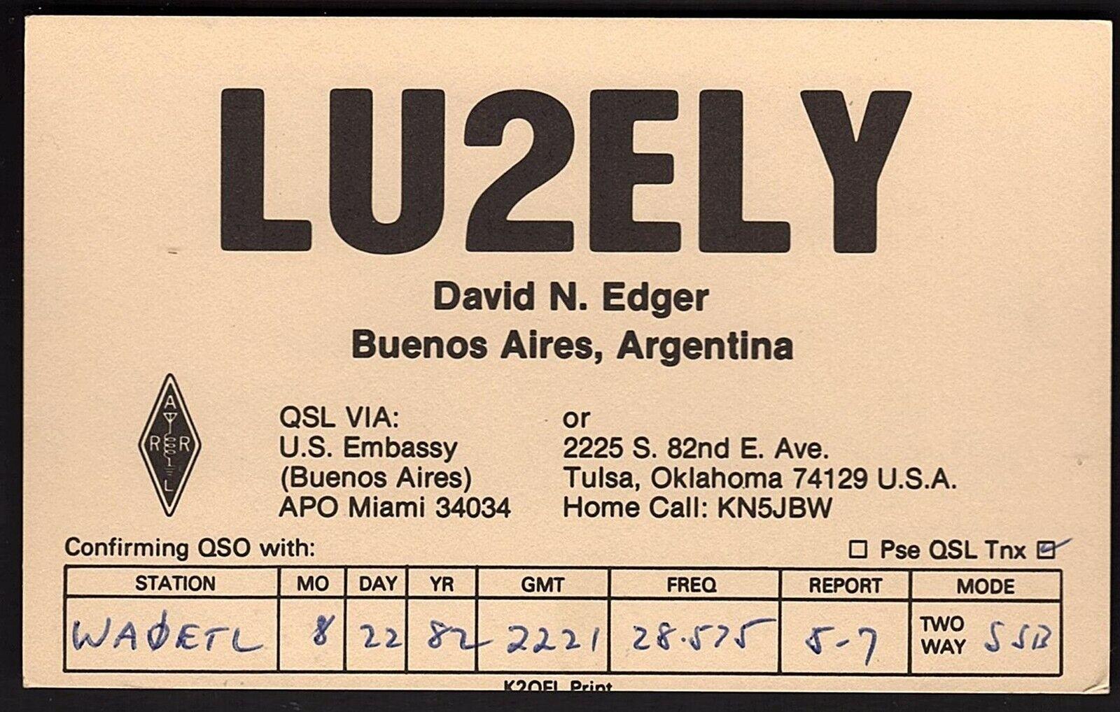 QSL QSO RADIO CARD LU2ELY,David N. Edger, Buenos Aires, Argentina (Q2157)
