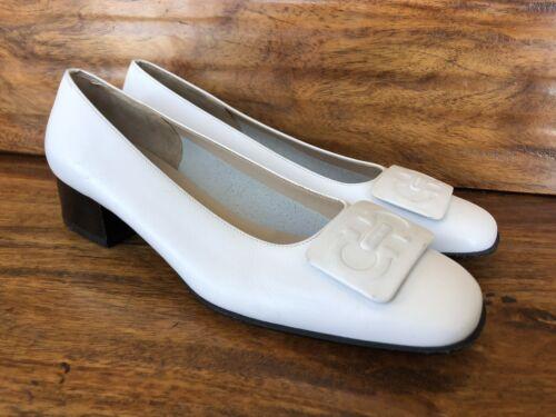 Women's Ferragamo Heels Loafers Size 6 C White Lea