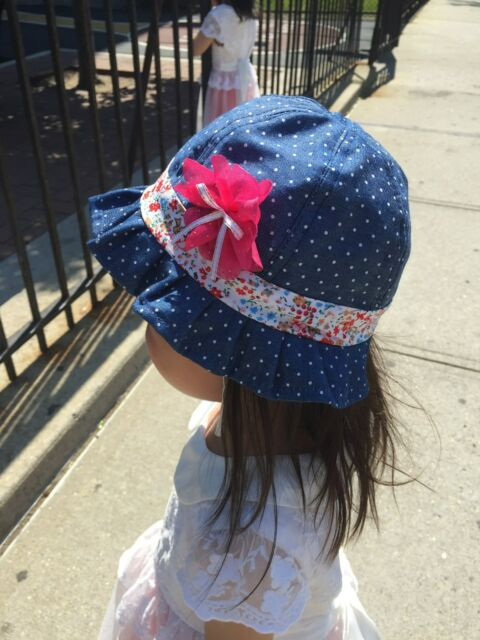 New Toddler Girls Ruffles Summer Sun Beach Hats cap w/ chin strap 12-24 month 2T