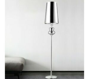 Long Barrel Shade Stand Up Lamp Modernism Fabric 1-Head Bedside Standing no shad